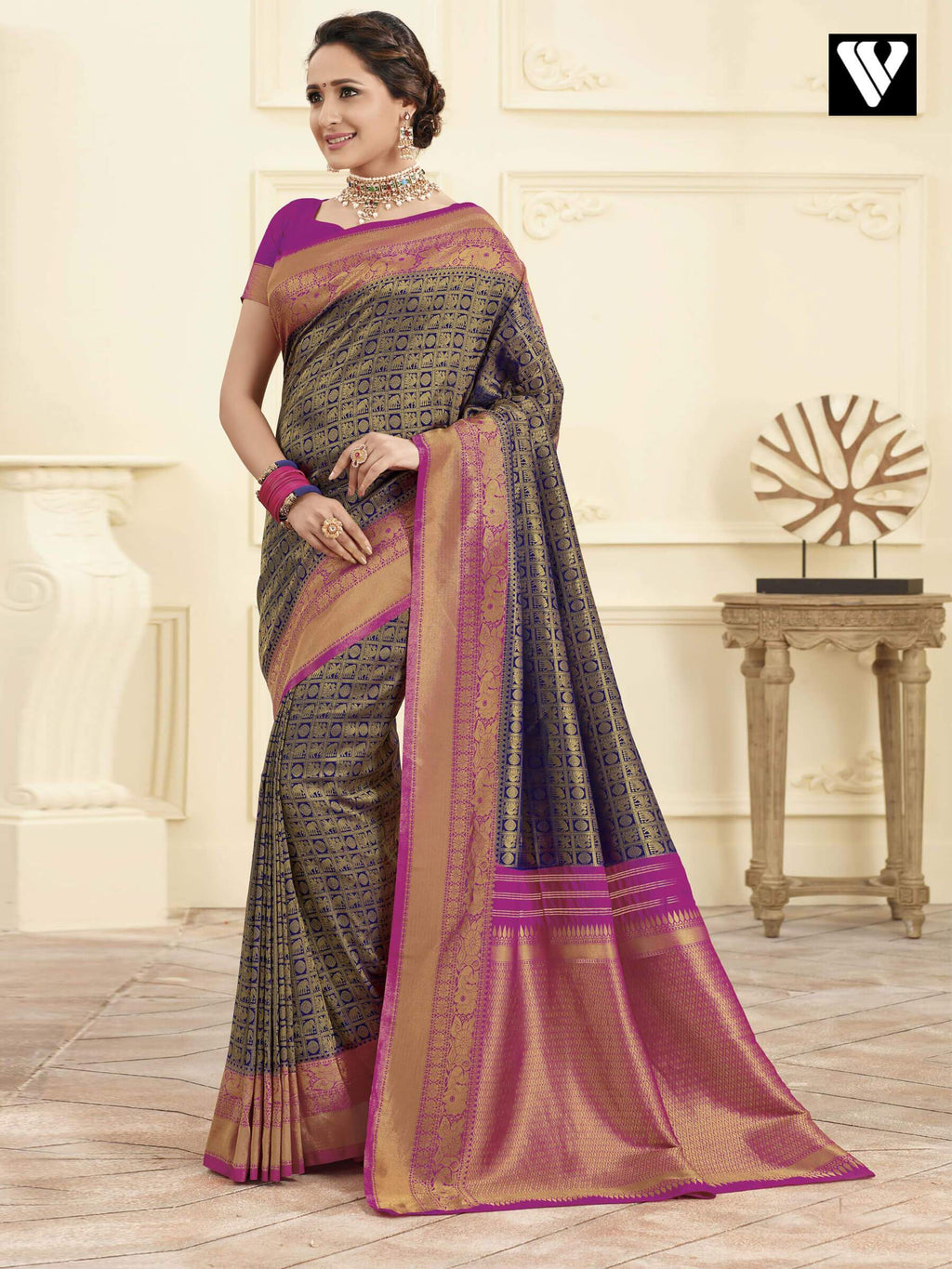 Nice Latest Banarasi Art Silk Sarees In Blue Gold