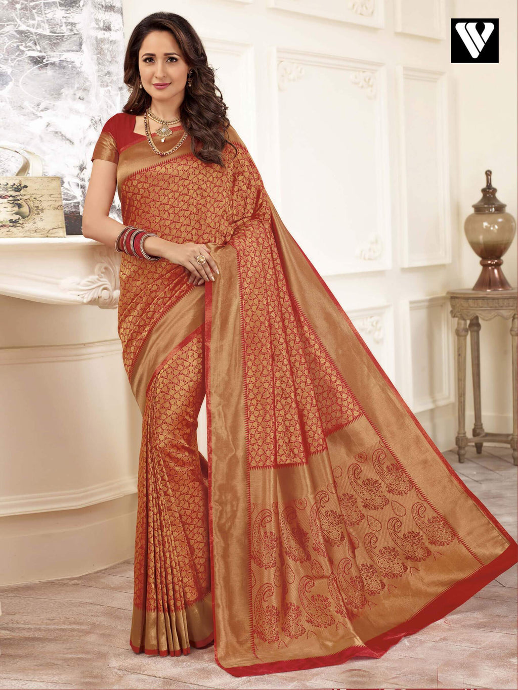Wedding Wear Banarasi Art Silk Sarees In Red Gold