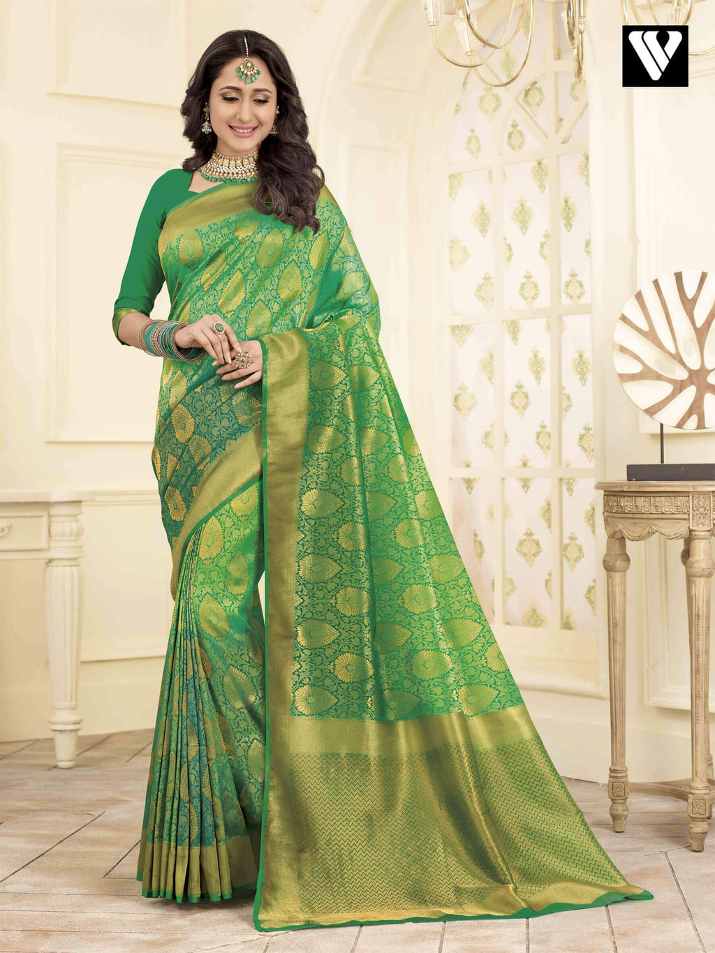Designer Wedding Wear Banarasi Art Silk Sarees In Green Gold