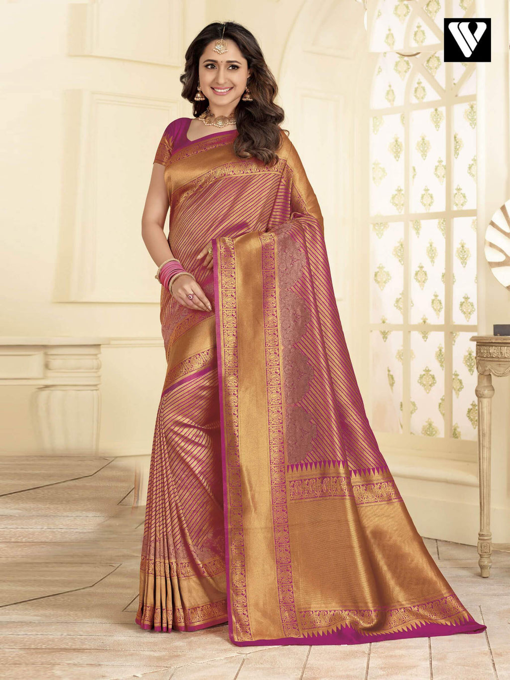Stylish Design Banarasi Art Silk Sarees In Pink Gold