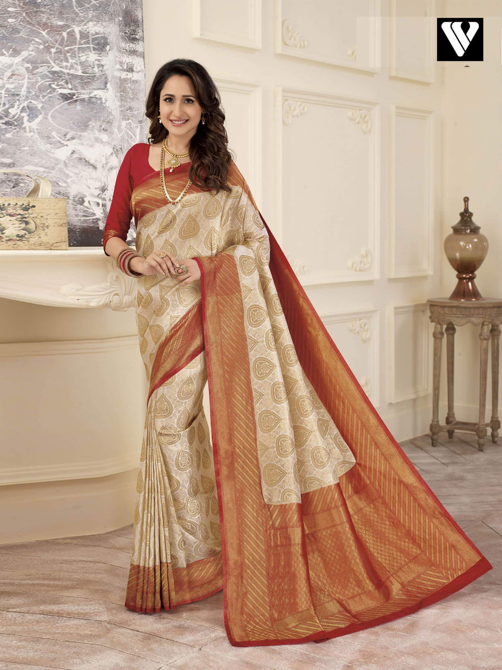 Designer Wedding Wear Banarasi Art Silk Sarees In Cream Gold