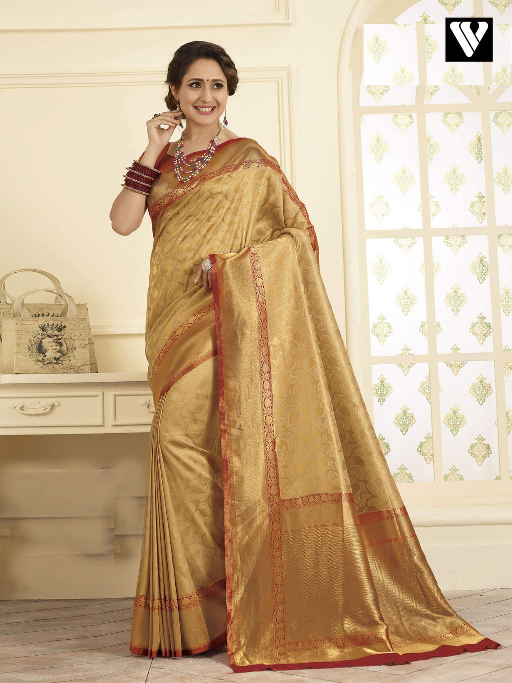 Latest Wedding Wear Banarasi Art Silk Sarees In Beige Gold
