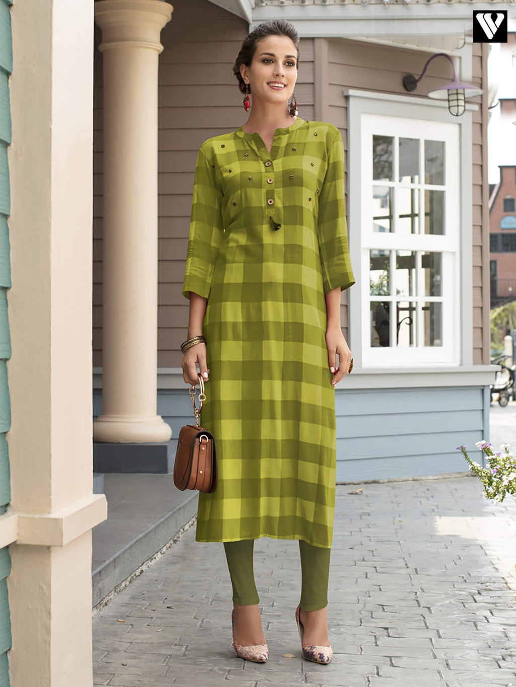 Party Wear Style Green Printed Rayon Fabric Long Kurtis
