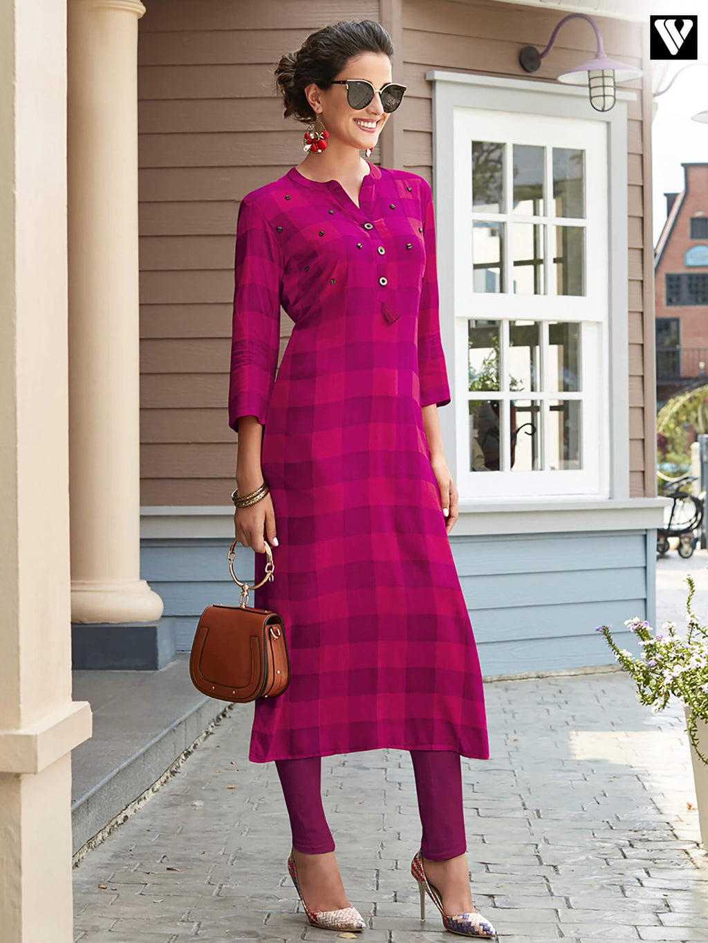 Stylish Pink Printed Rayon Fabric Long Kurtis