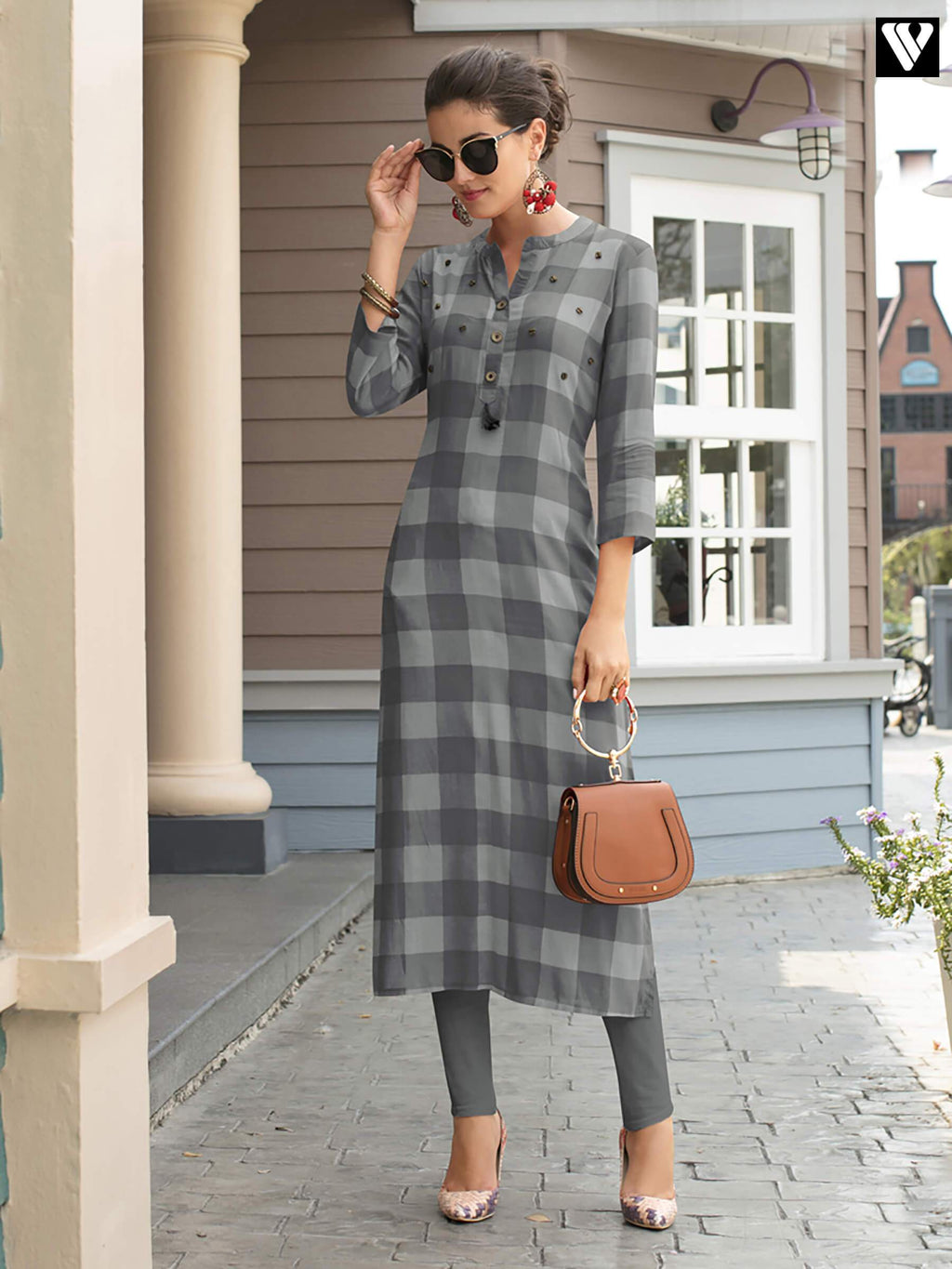 Latest Print Design Grey Rayon Fabric Long Kurtis