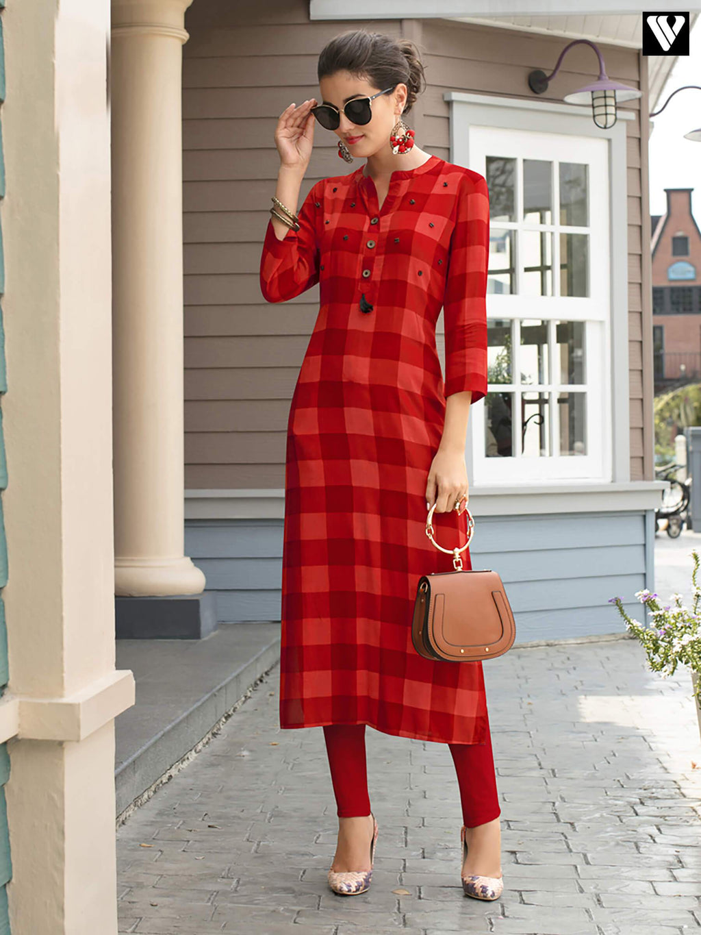 Red Print On Rayon Fabric Long Kurtis