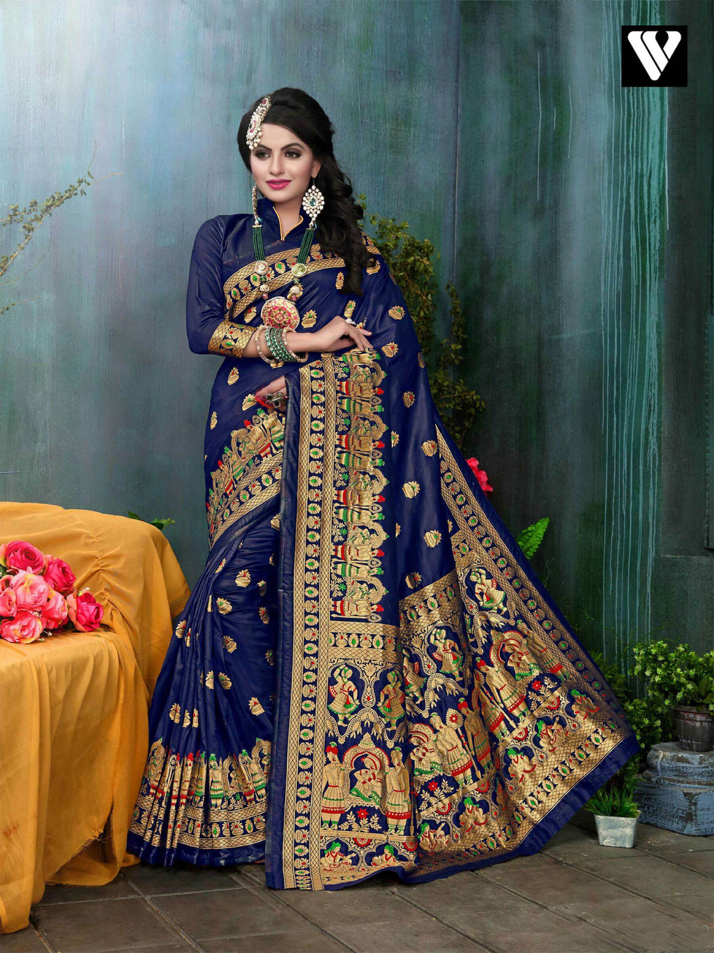Amazing Festival Wear Banarasi Silk Saree In Dark Blue