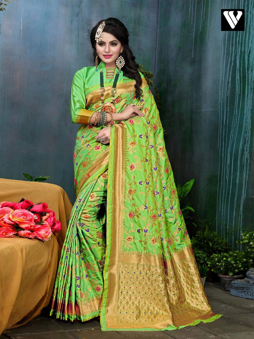 Designer Festival Wear Banarasi Silk Saree In Green