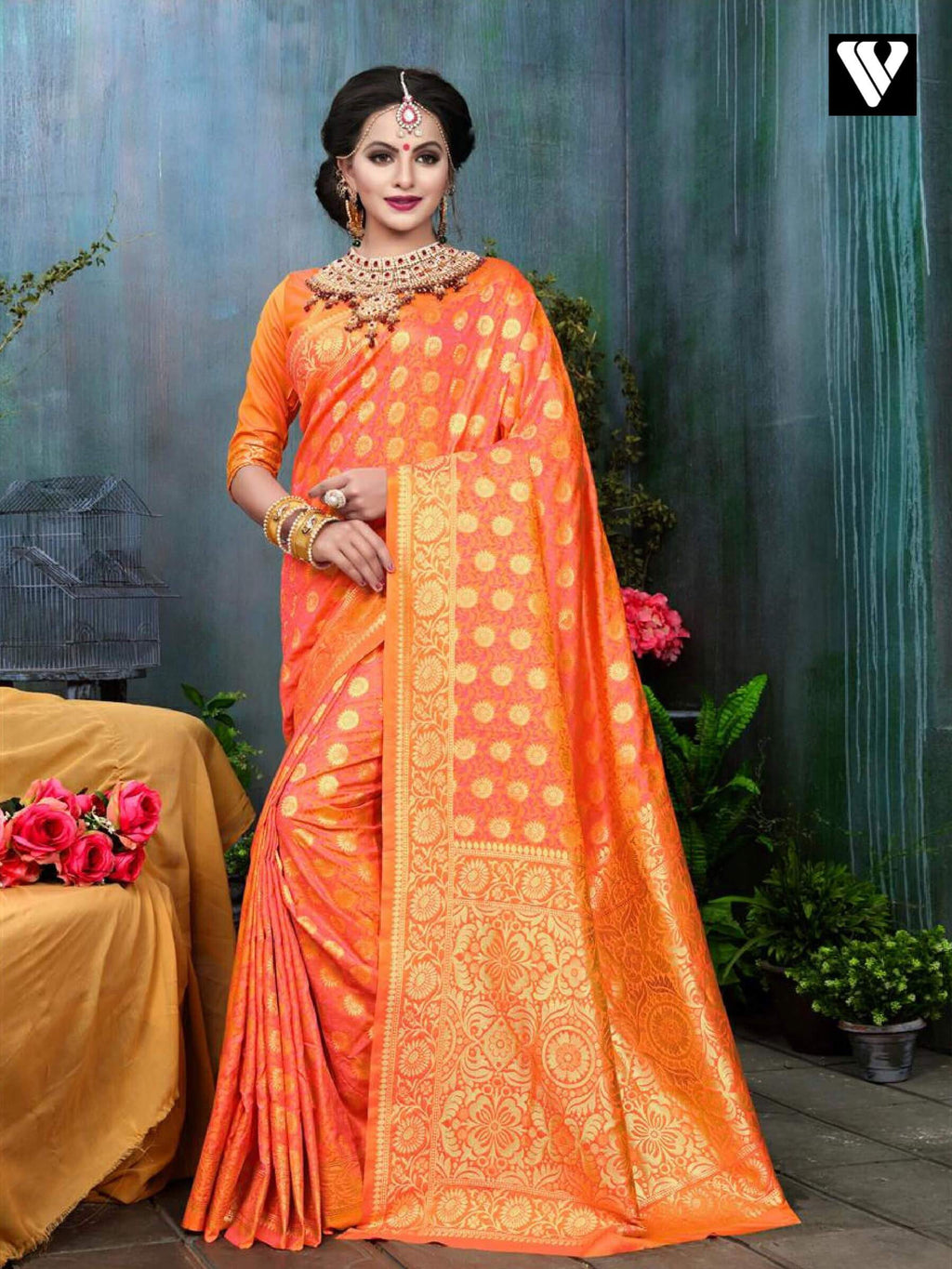 Wedding Wear Stylish Banarasi Silk Saree In Orange
