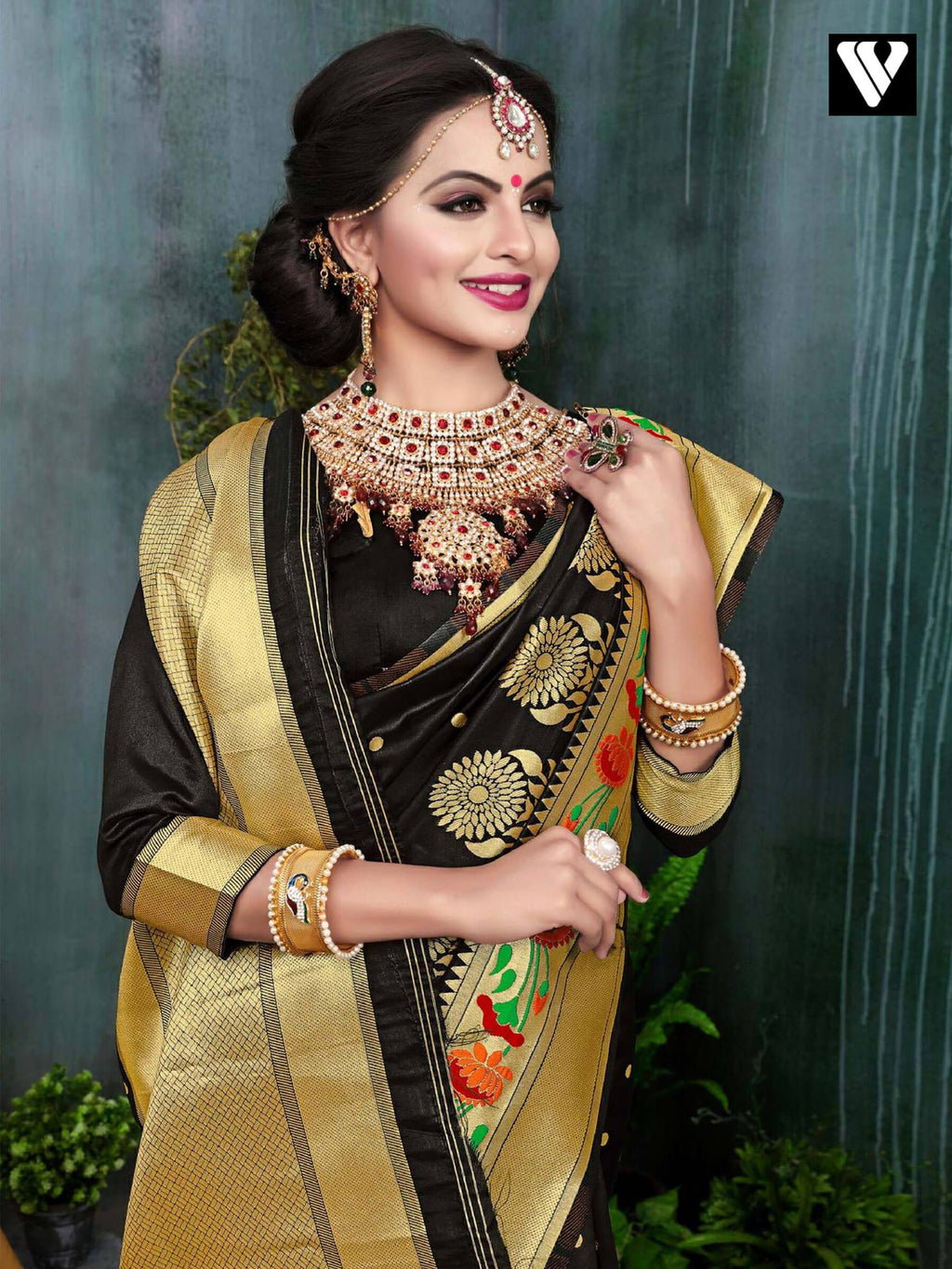 Black Banarasi Silk Saree Wear On Festival Time