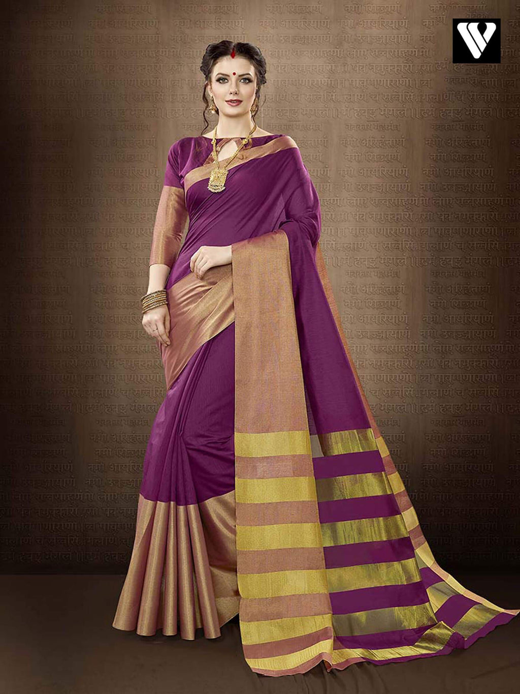 Nice Design Casual Wear Cotton Handloom Silk Saree in Purple