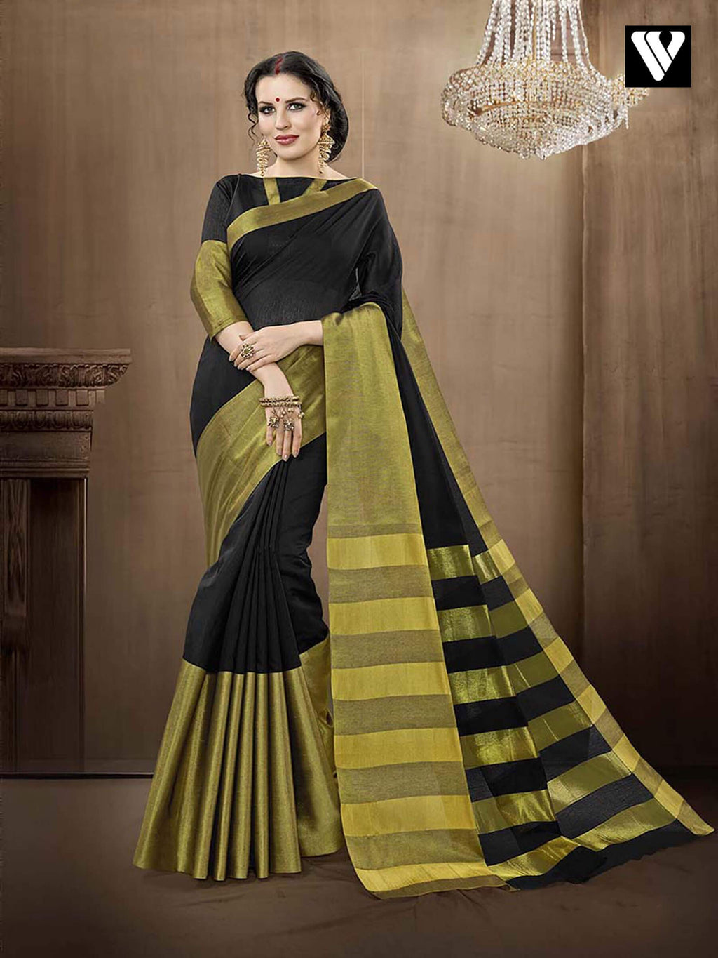 Stylish Casual Wear Designer Cotton Handloom Silk Saree in Black