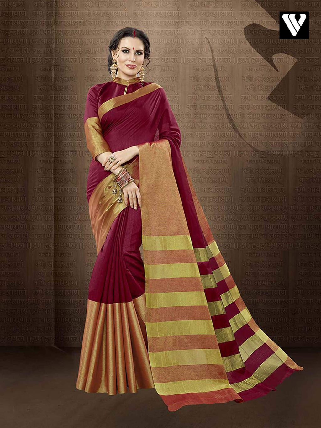Designer Latest Casual Wear Cotton Handloom Silk Saree in Maroon