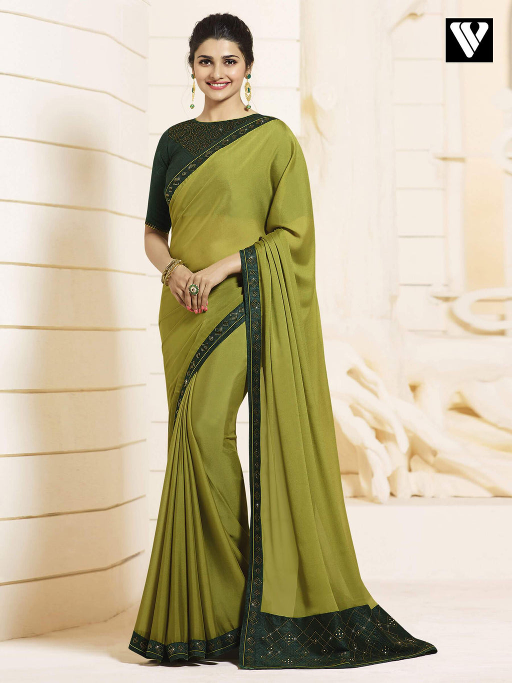 Latest Bollywood Georgette Silk Saree In Green