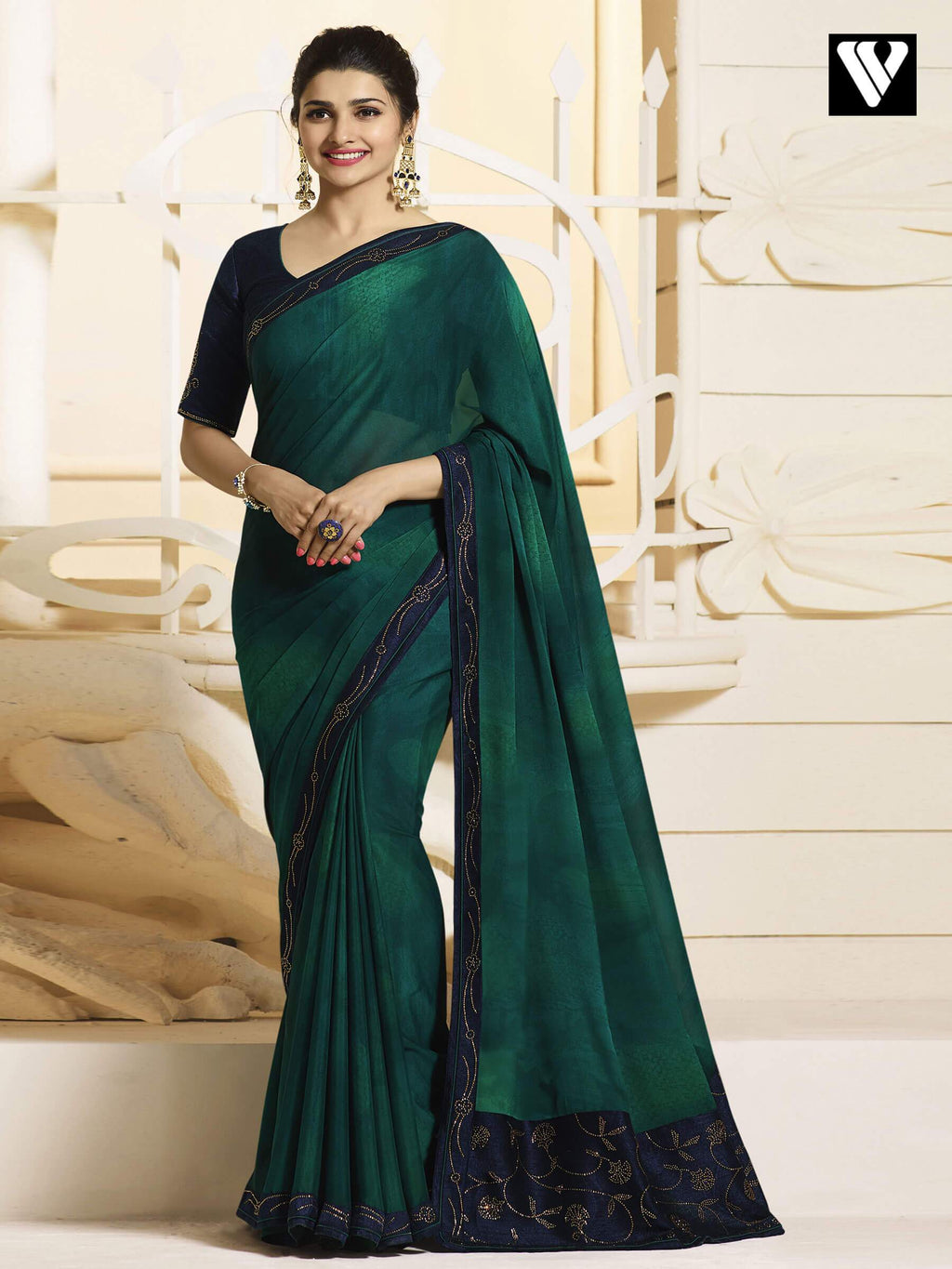 Desinger Latest Bollywood Georgette Silk Saree In Green
