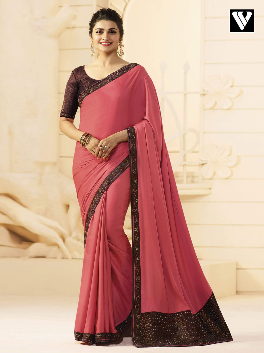 Designer Prachi Desai Bollywood Silk Saree In Pink