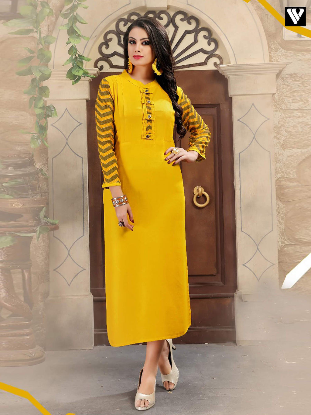 Latest Pattern Design On Yellow Color Long Kurtis