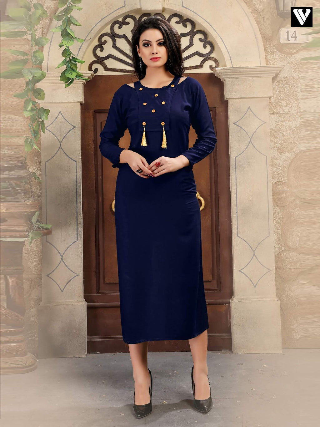 Designer Pattern Work On Royal Blue Long Kurtis