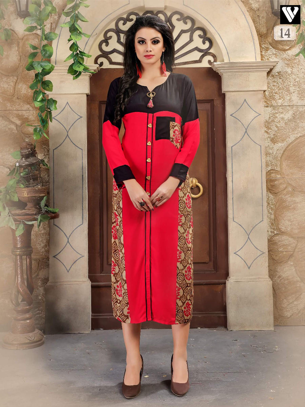 Designer Full Sleeves Pattern Work Red Long Kurtis