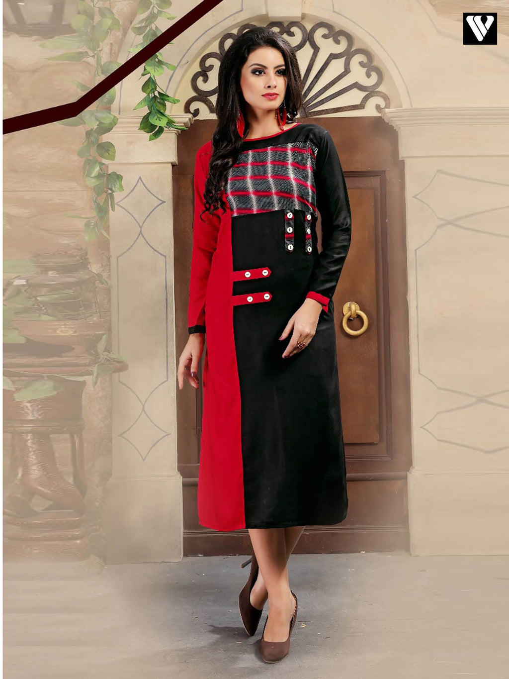 Full Sleeves Red and Black Pattern Long Kurtis