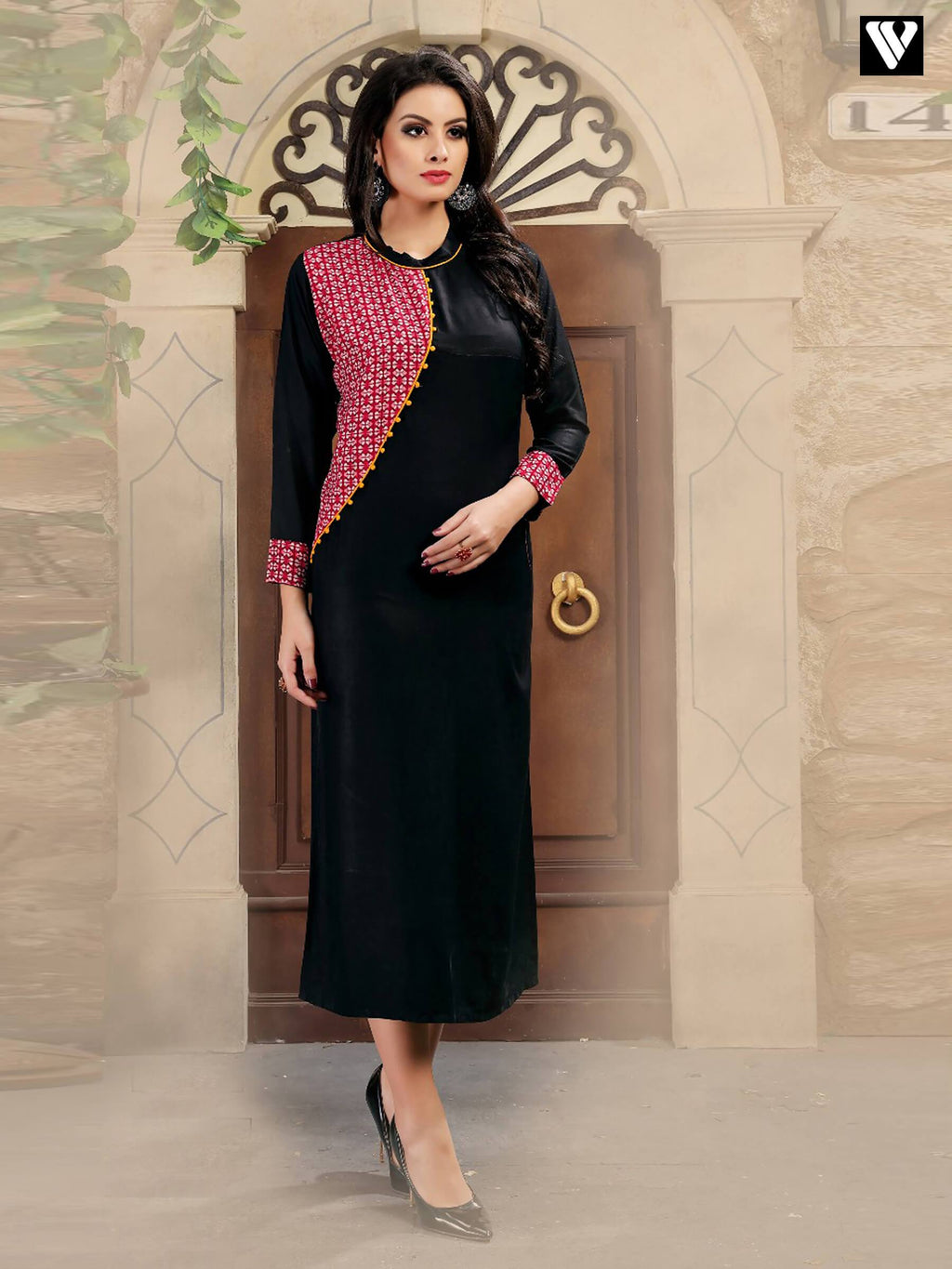 Fancy Full Sleeves Rayon Print Black Long Kurtis