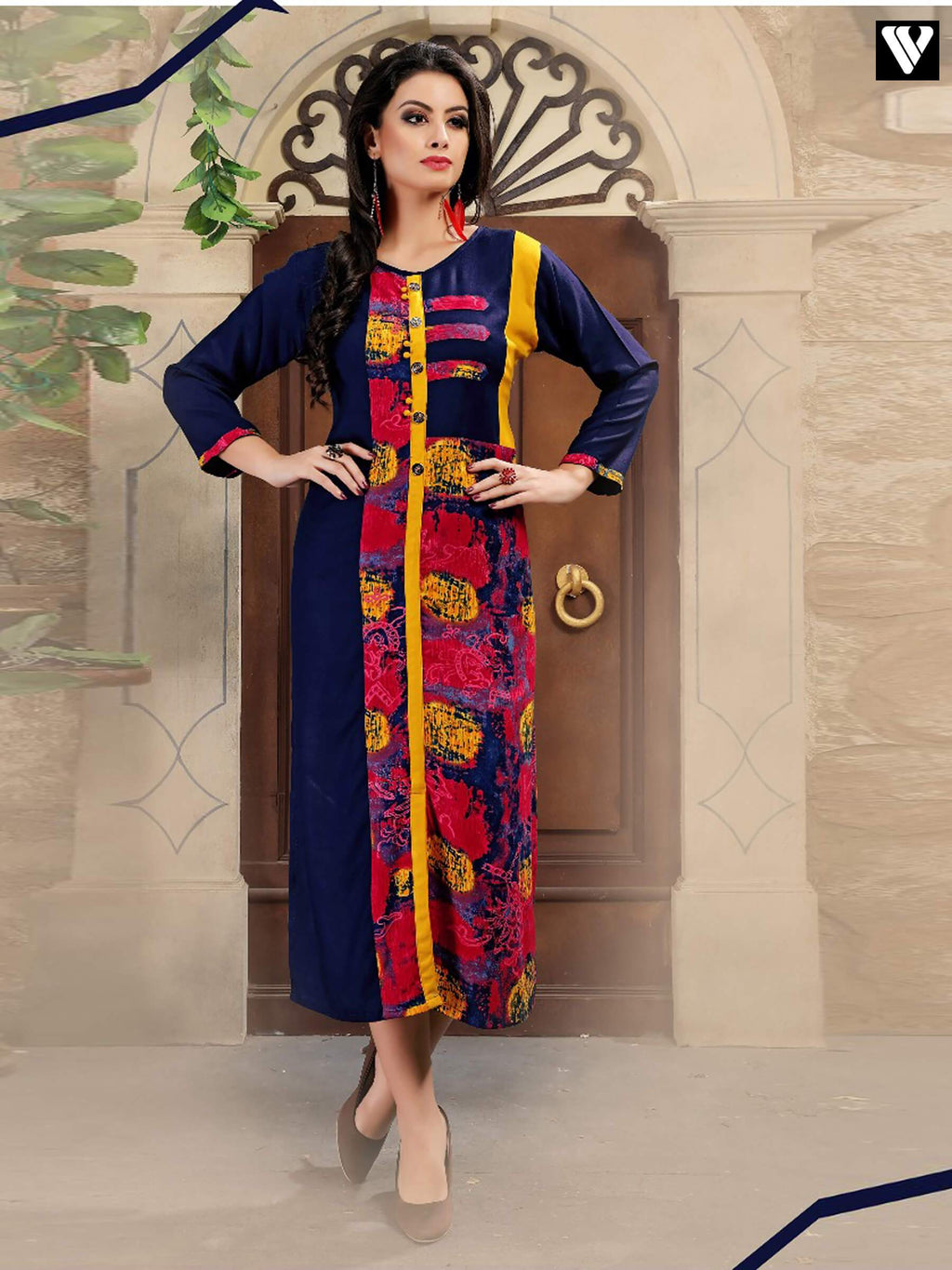 Designer Blue with Multi Color Rayon Print Long Kurtis Full Sleeves