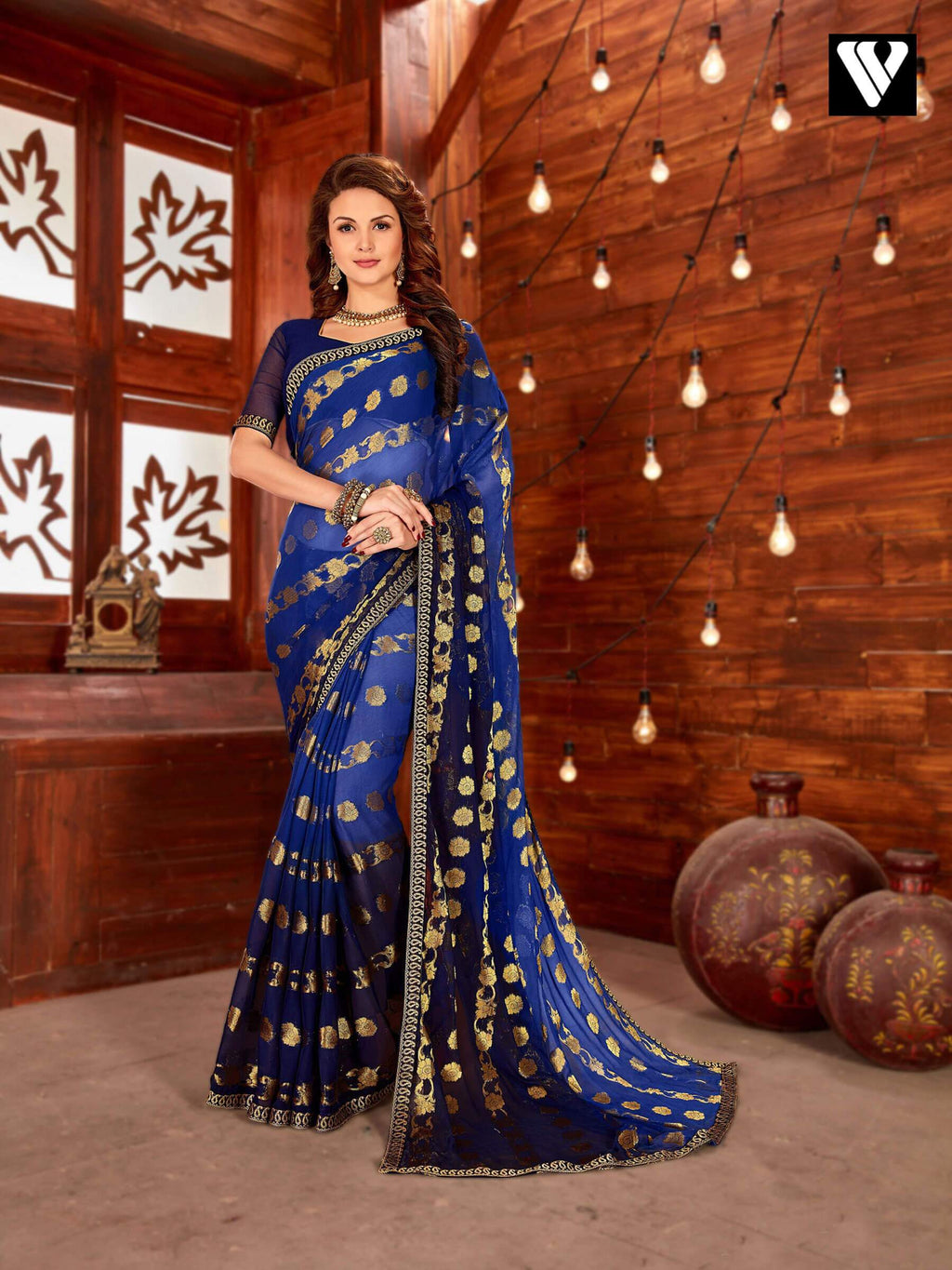 Casual Wear Blue Chiffon Jaquard Saree