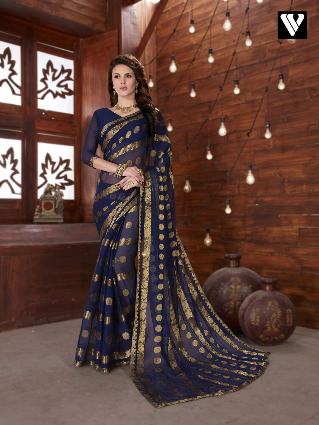 Amazing Casual Wear Navy Blue Chiffon Jaquard Saree