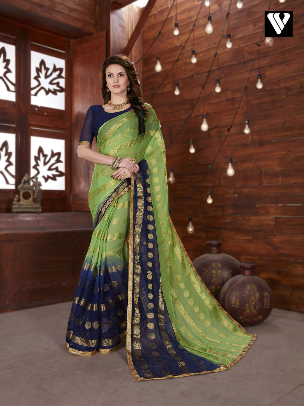 Green and Navy Blue Chiffon Jaquard Saree