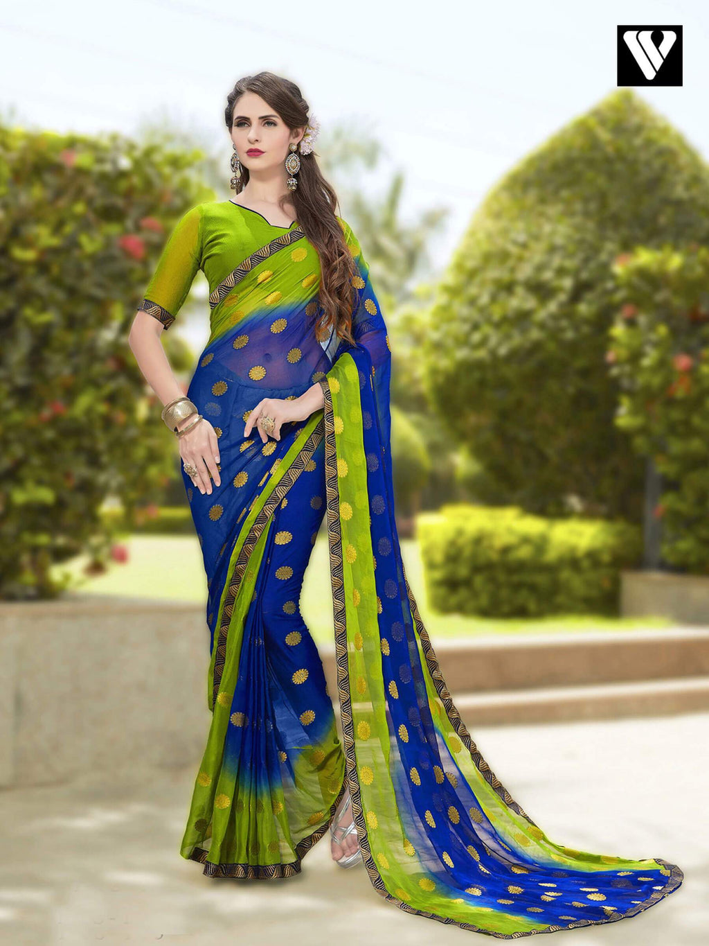 Fashionable Green and Blue Blue Chiffon Jaquard Saree