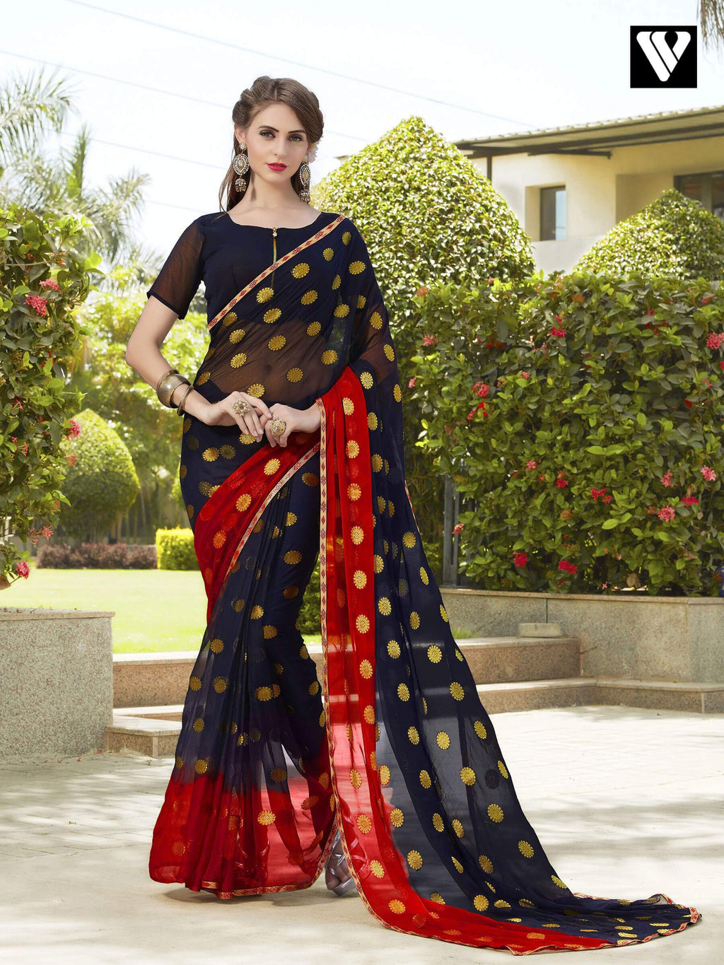 Latest Design Red and Black Chiffon Jaquard Saree