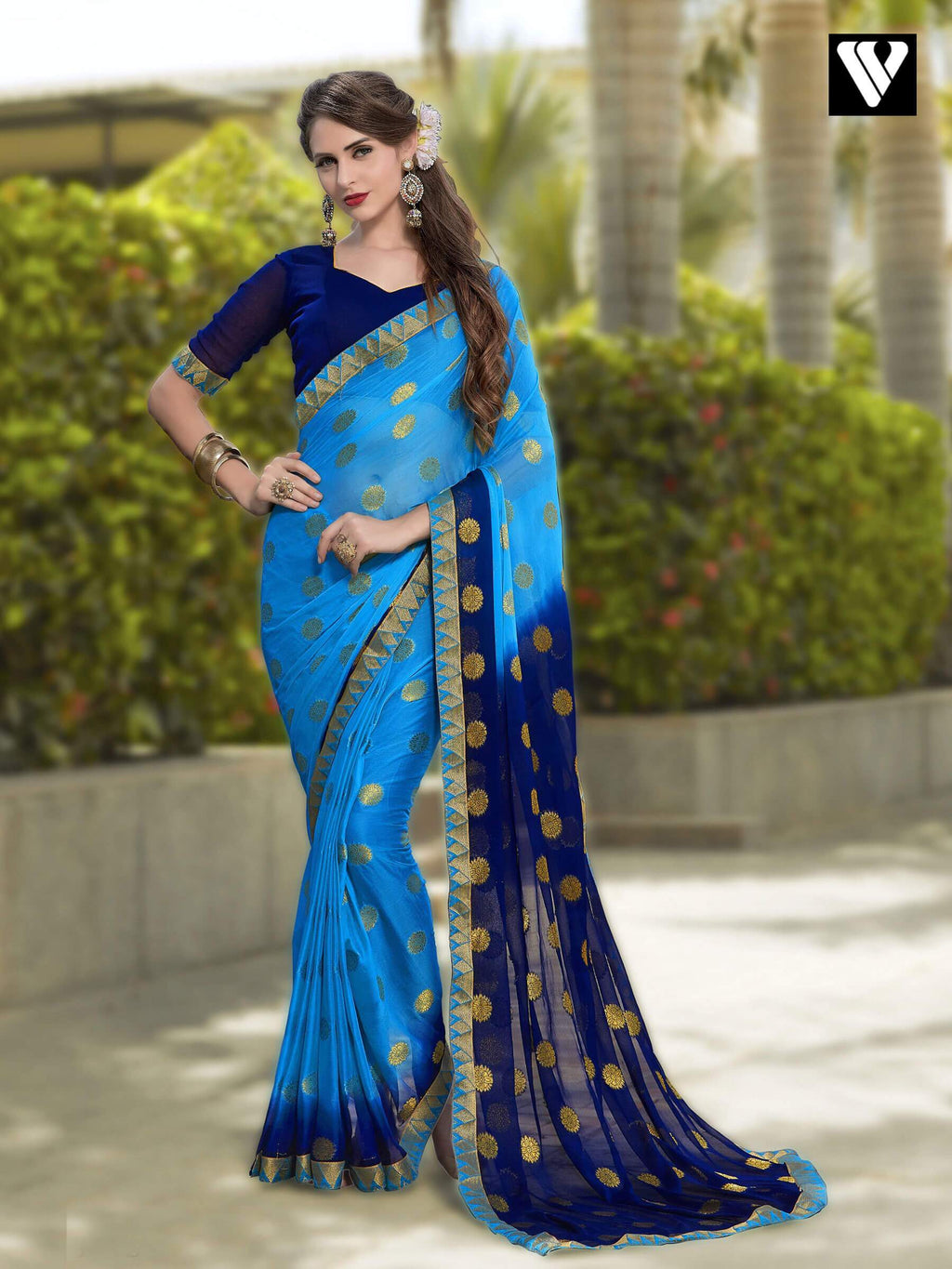 Sky Blue and Blue Chiffon Jaquard Saree