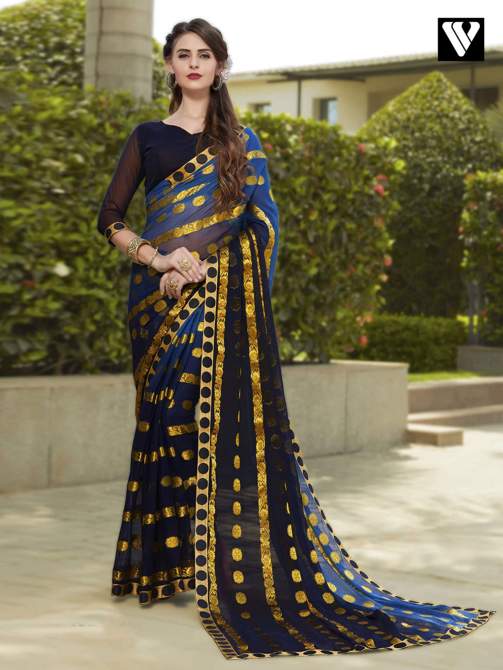 Stylish Blue and Black Chiffon Jaquard Saree