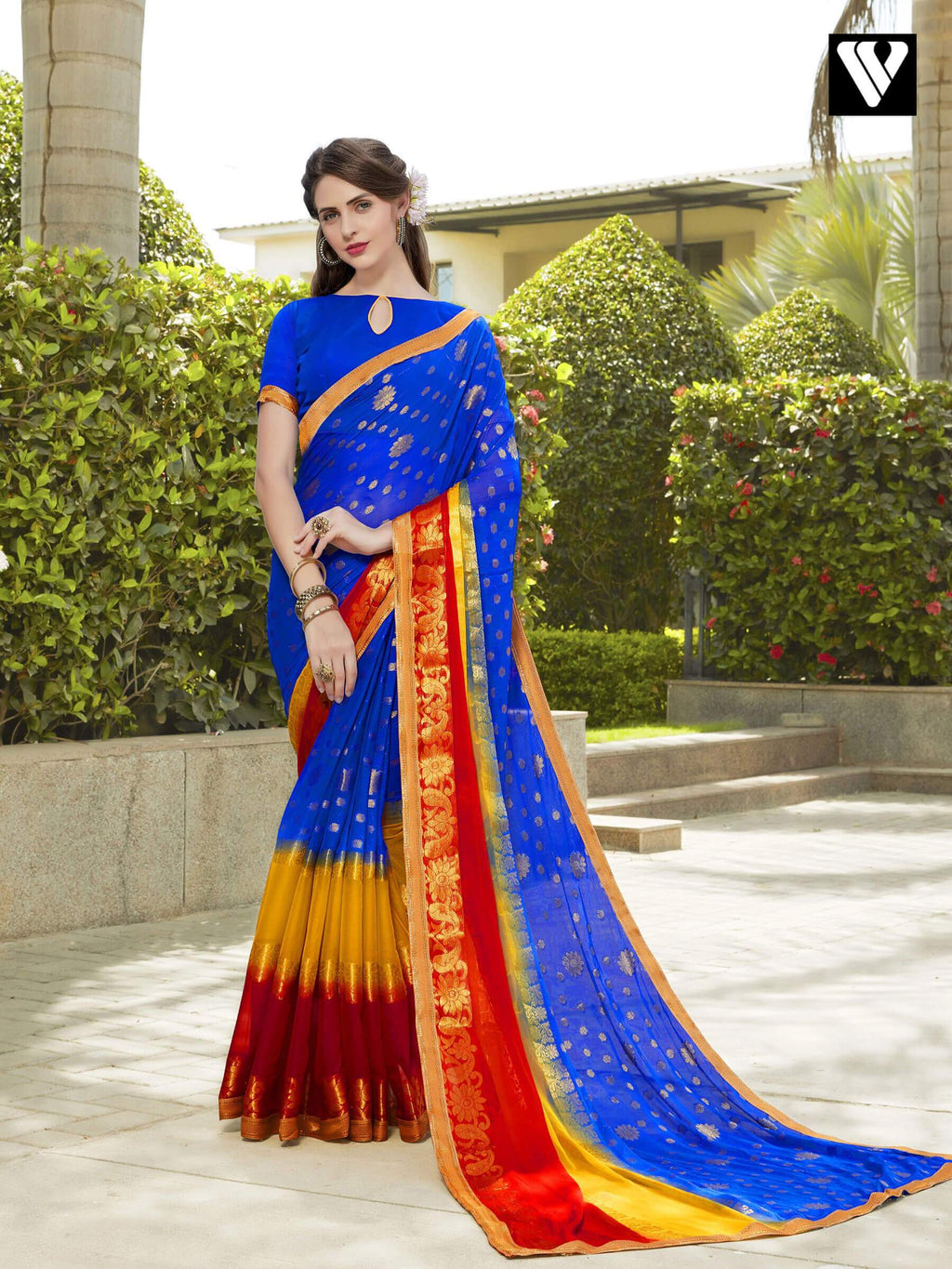 Stylish Multi Color Chiffon Jaquard Saree