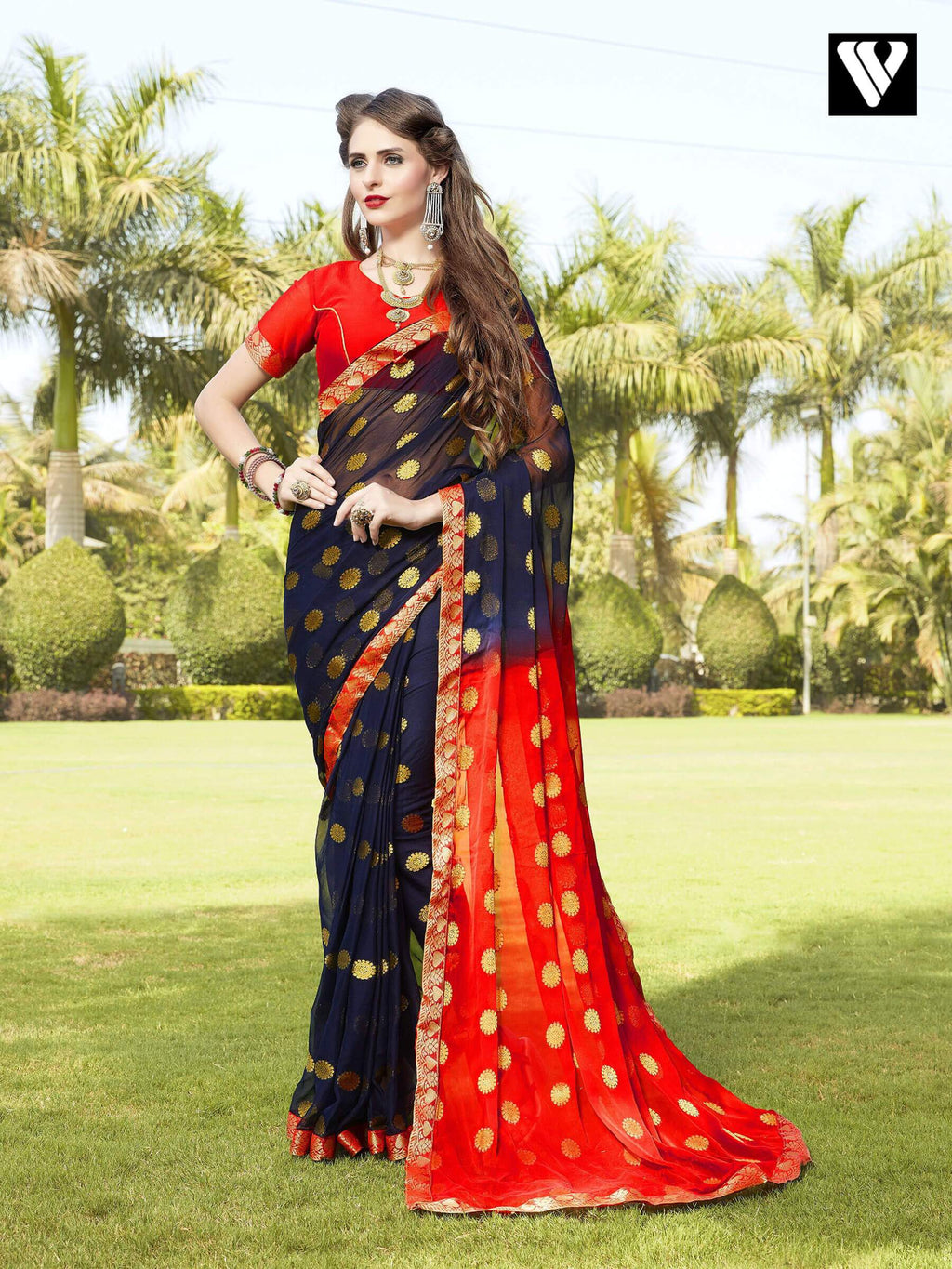Nice Design Multi Color Chiffon Jaquard Saree