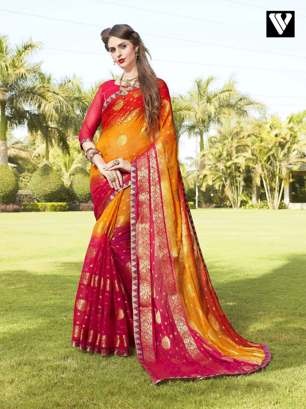 Latest Design Multi Color Chiffon Jaquard Saree