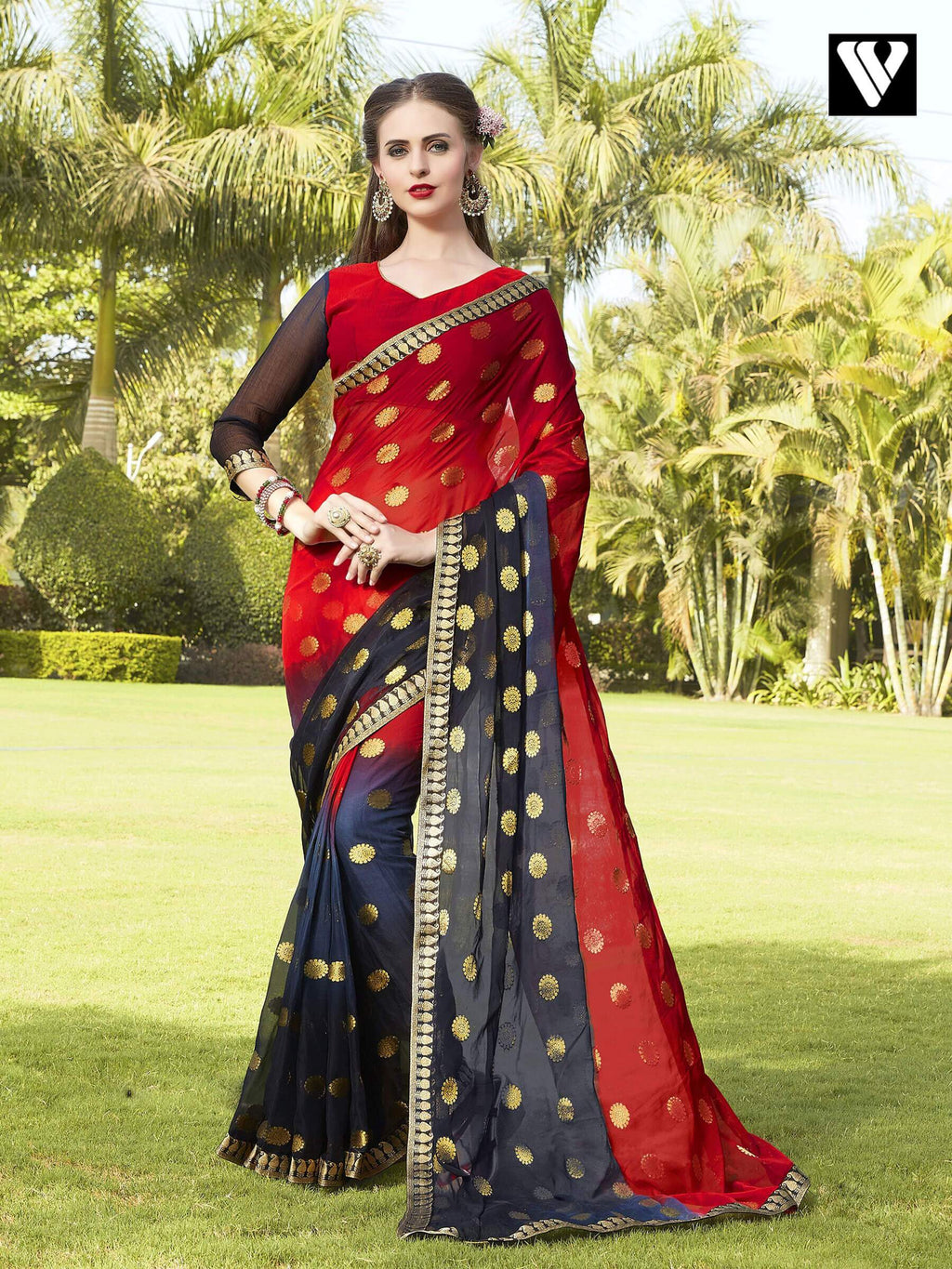Casual Wear Multi Color Chiffon Jaquard Saree