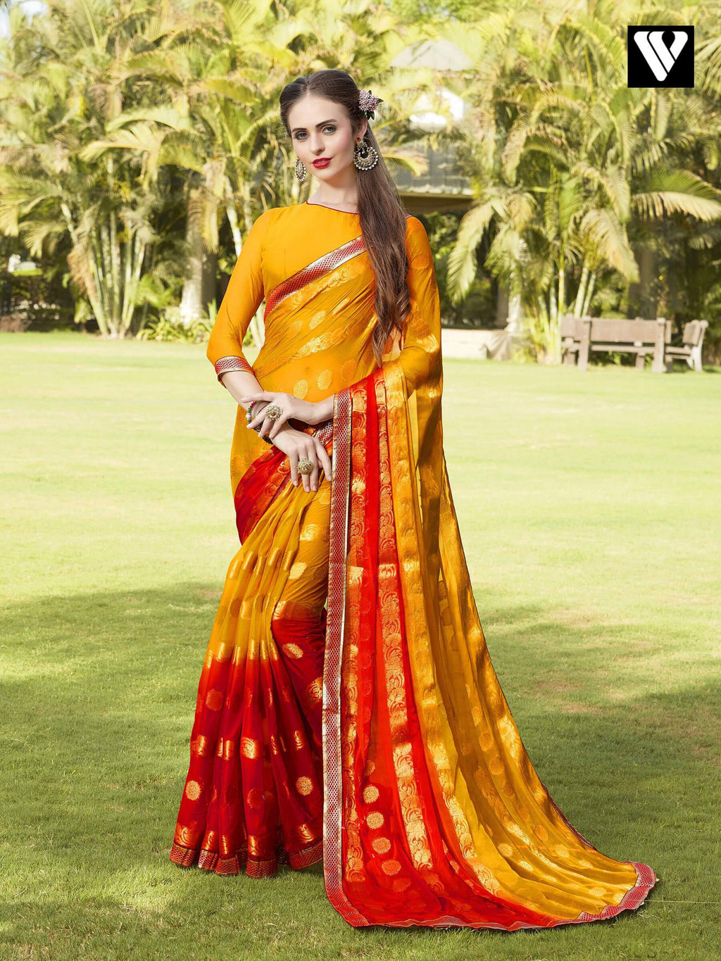 Casual Wear Red and Yellow Chiffon Jaquard Saree