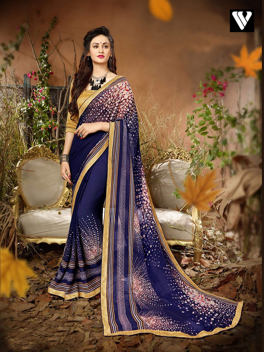 Casual Wear Blue Blue Georgette Saree