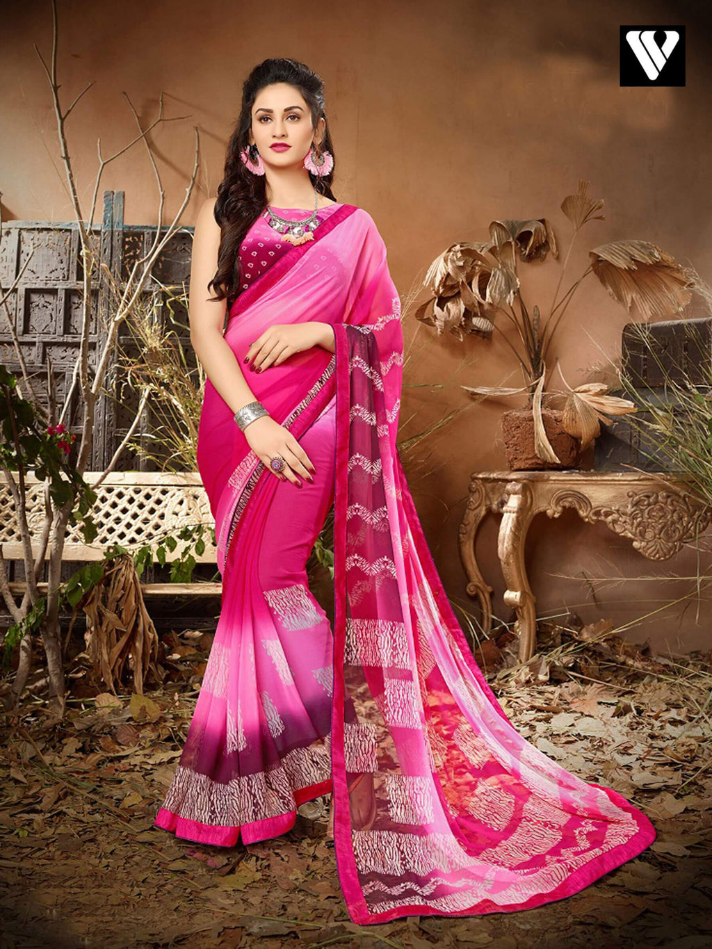 Designer Casual Wear Pink Georgette Saree