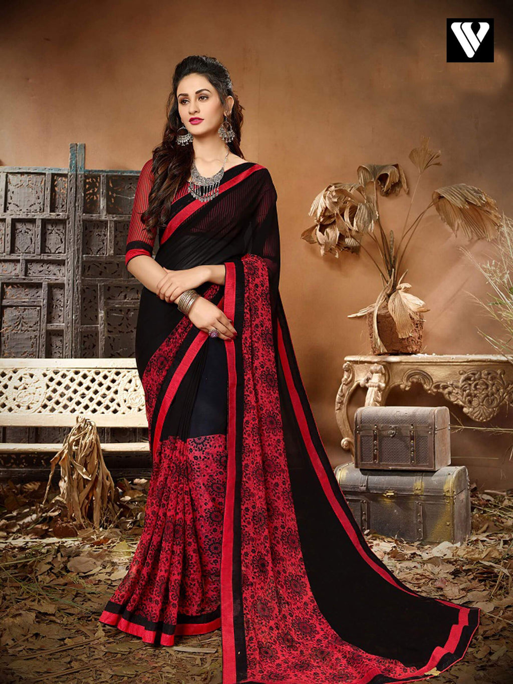 Designer Casual Wear Red and Black Georgette Saree