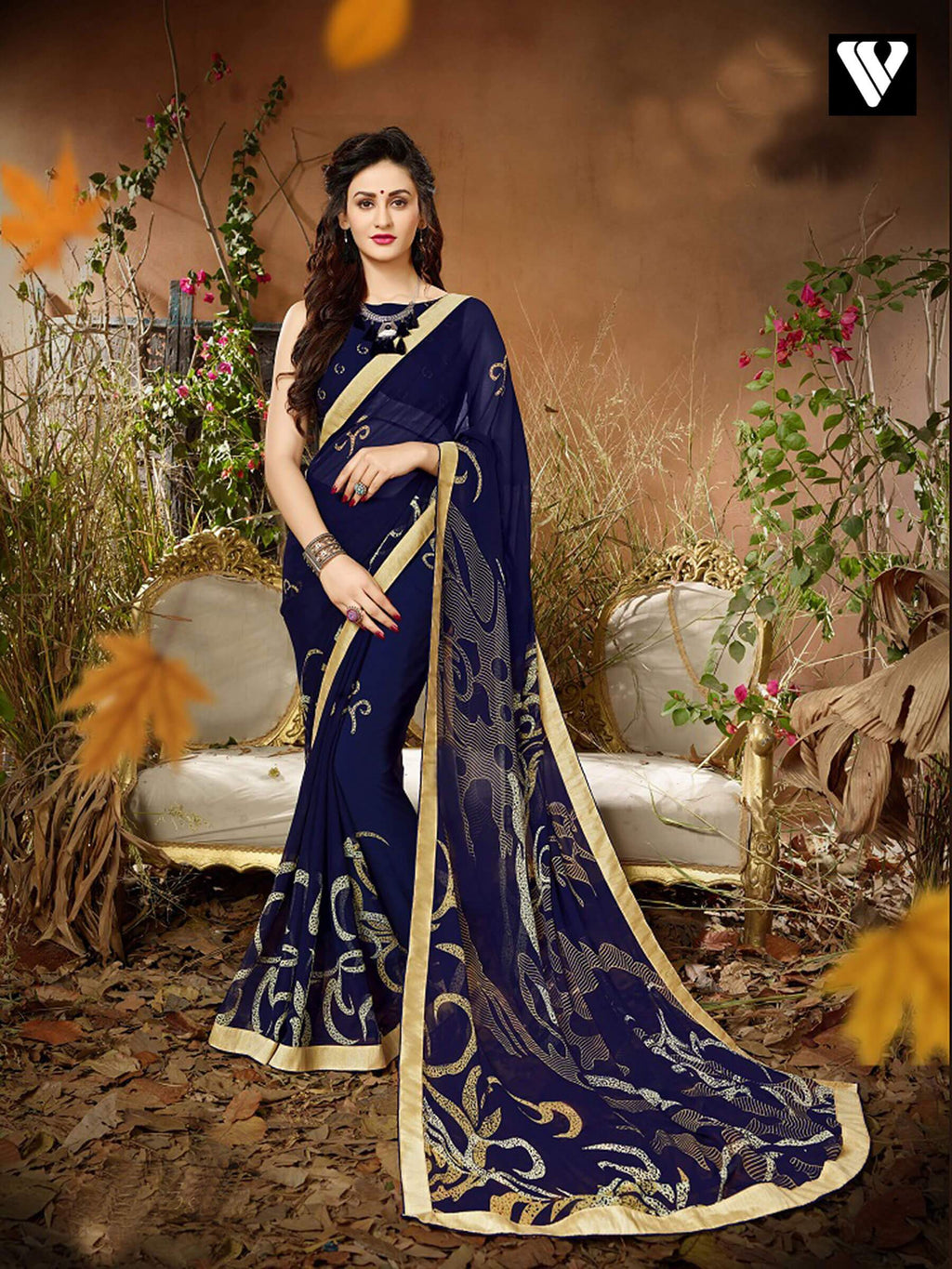 Printed Casual Wear Blue Georgette Saree