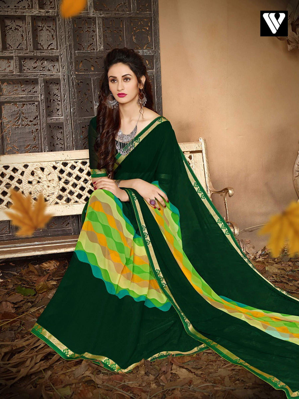 Latest Print Casual Wear Multi Color Georgette Saree