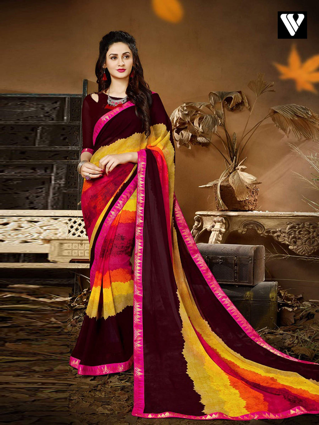 Desinger Print Casual Wear Multi Color Georgette Saree