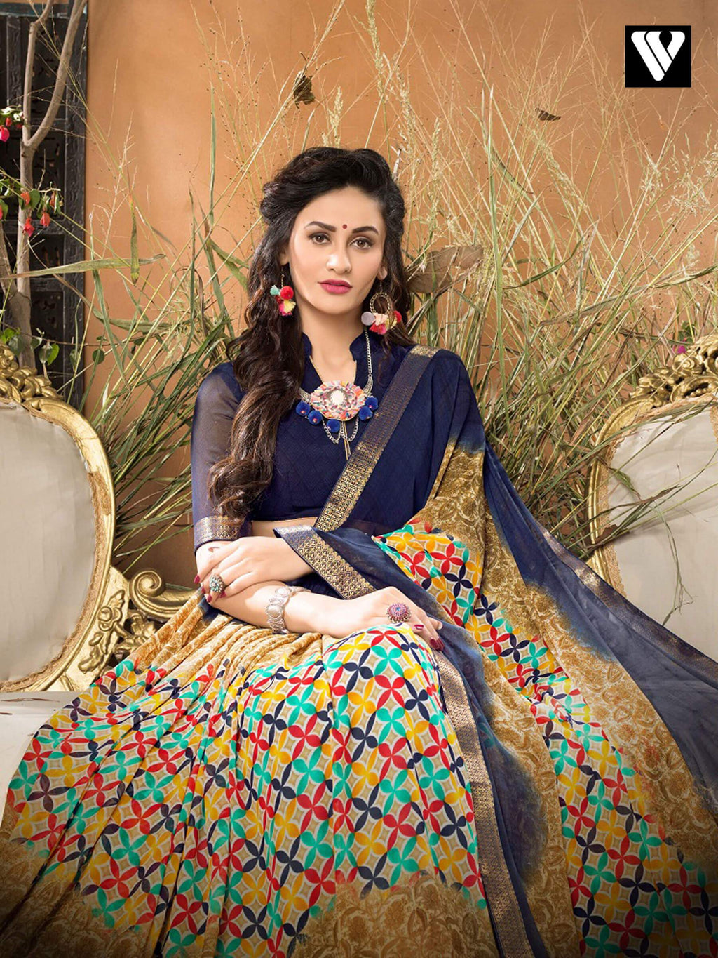 Print Casual Wear Multi Color Georgette Saree