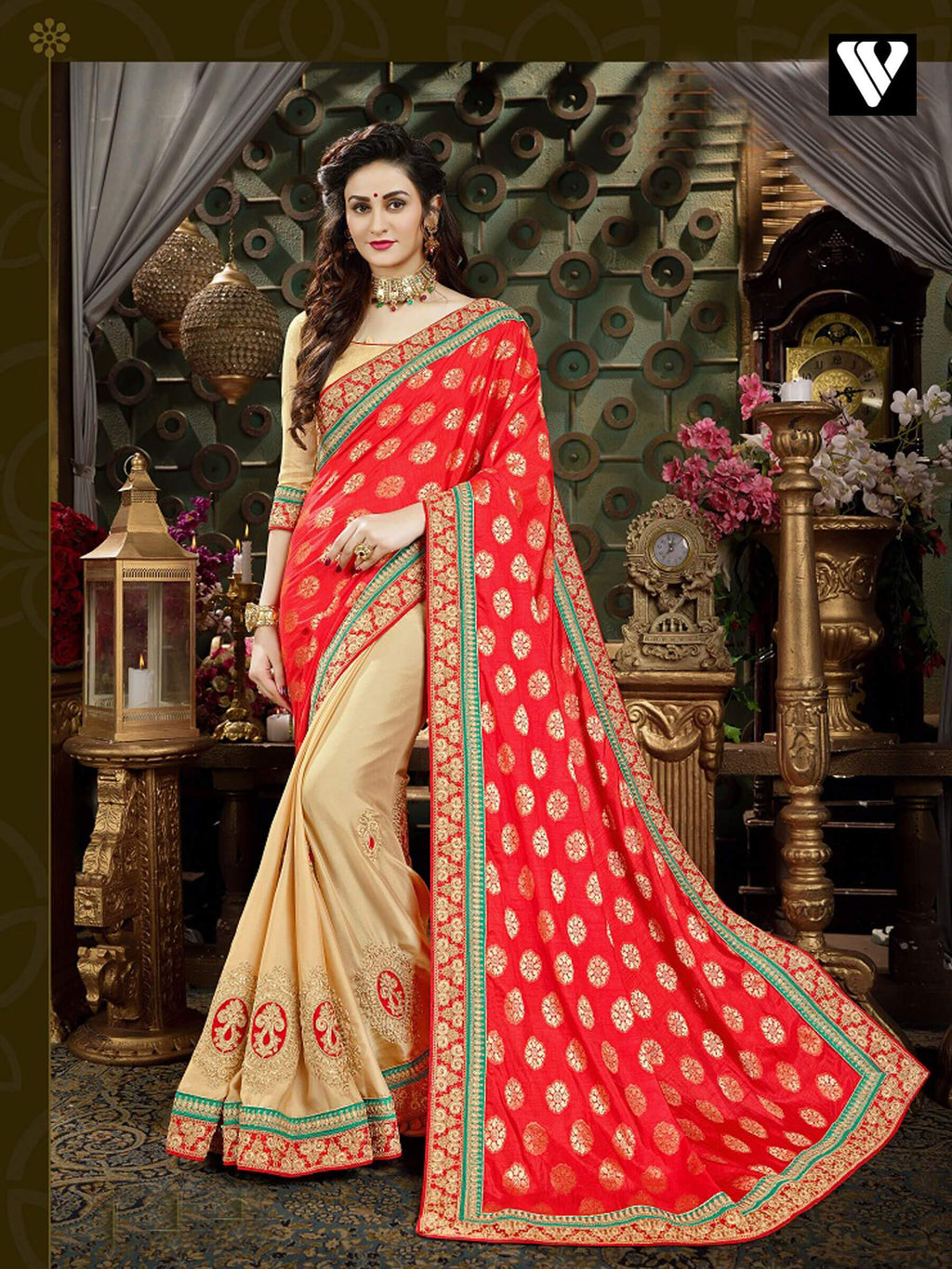 Designer Festival Wear Georgette Saree In Orange