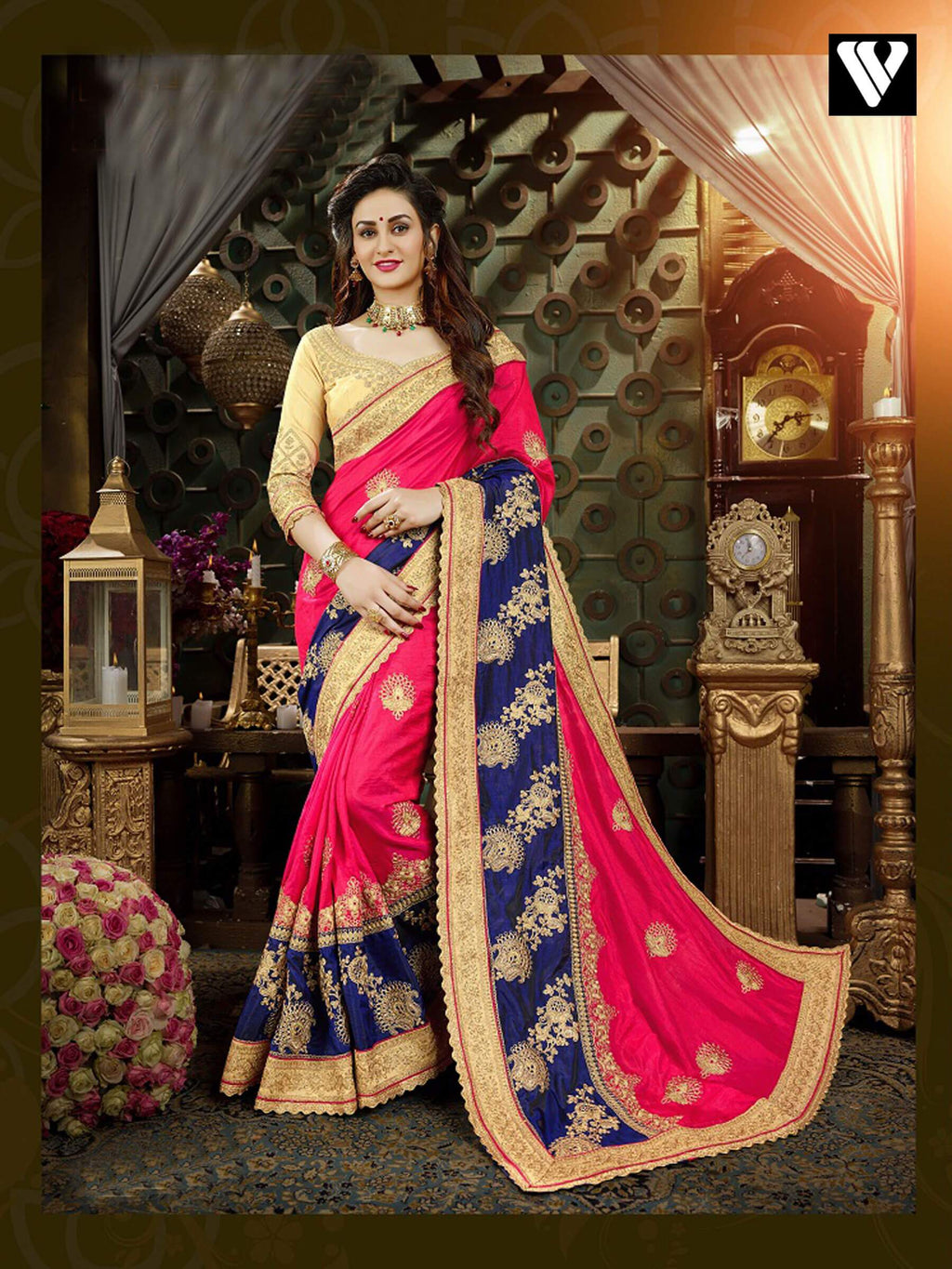 Festival Wear Pink and Blue Georgette Saree