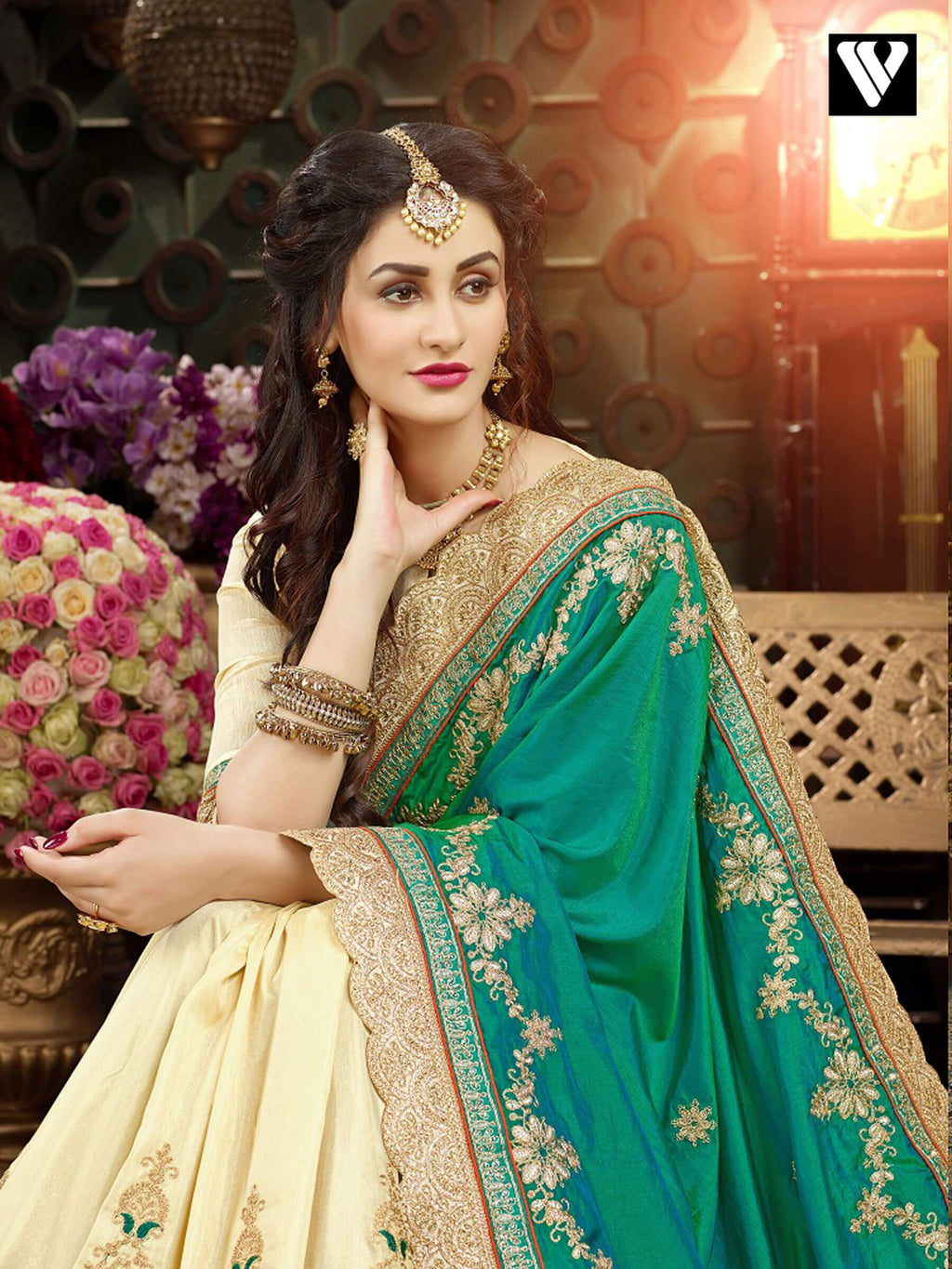 Designer Festival Wear Green Georgette Saree