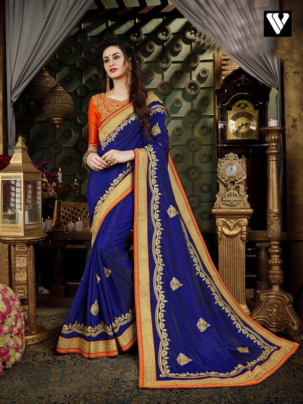 Party Wear Style Designer Georgette Saree In Blue