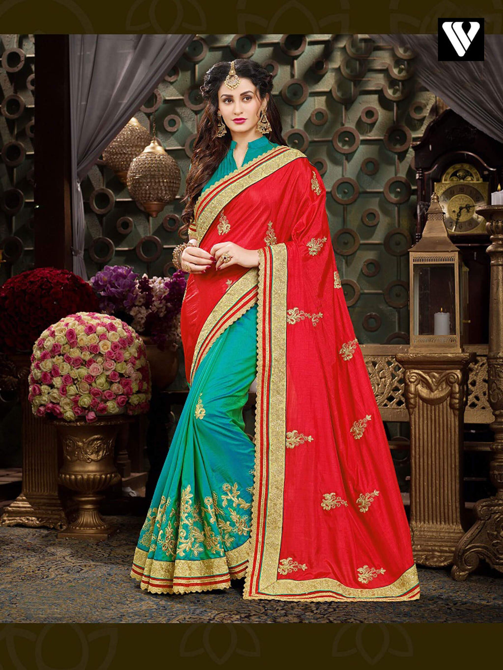 Amazing Work Festival Style Georgette Saree In Red